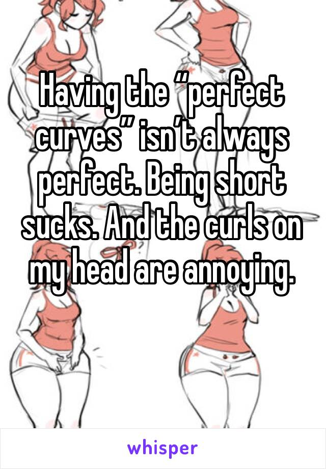 "Having the ""perfect curves"" isn't always perfect. Being short sucks. And the curls on my head are annoying."