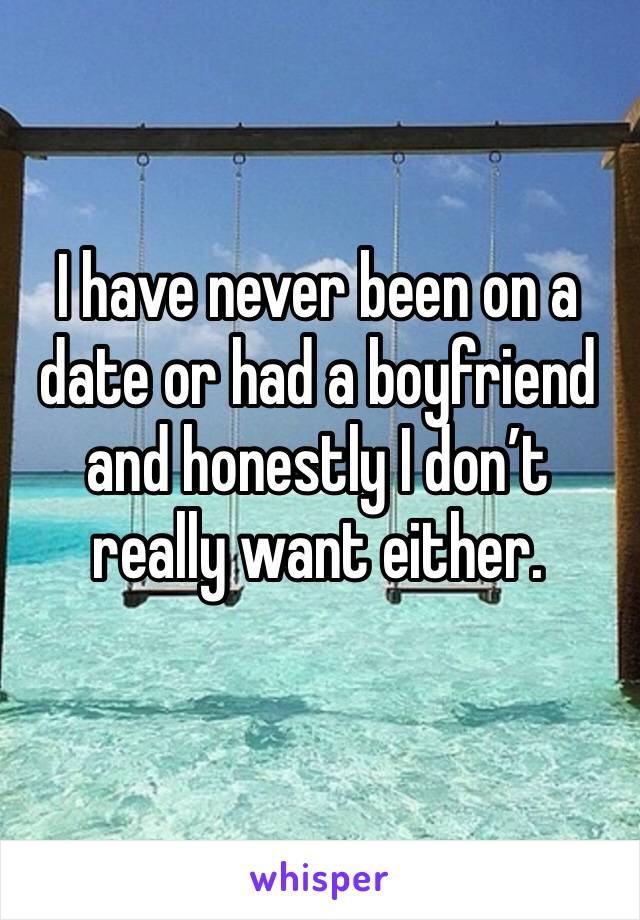 I have never been on a date or had a boyfriend and honestly I don't really want either.