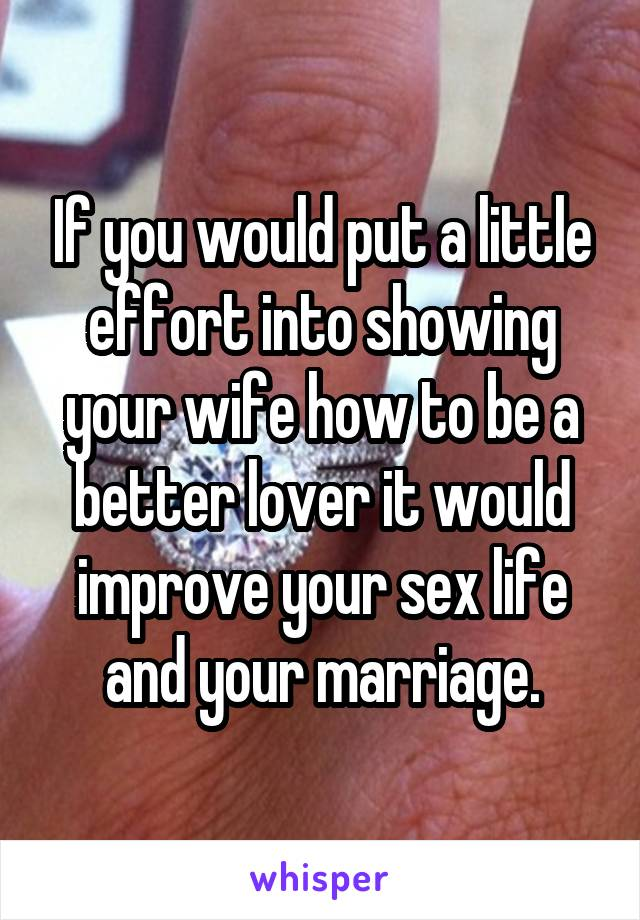 how to be a better lover for your wife