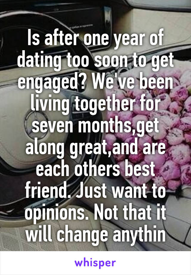 Dating 4 years not living together