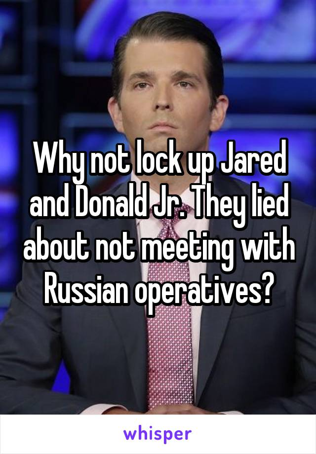 Why not lock up Jared and Donald Jr. They lied about not meeting with Russian operatives?