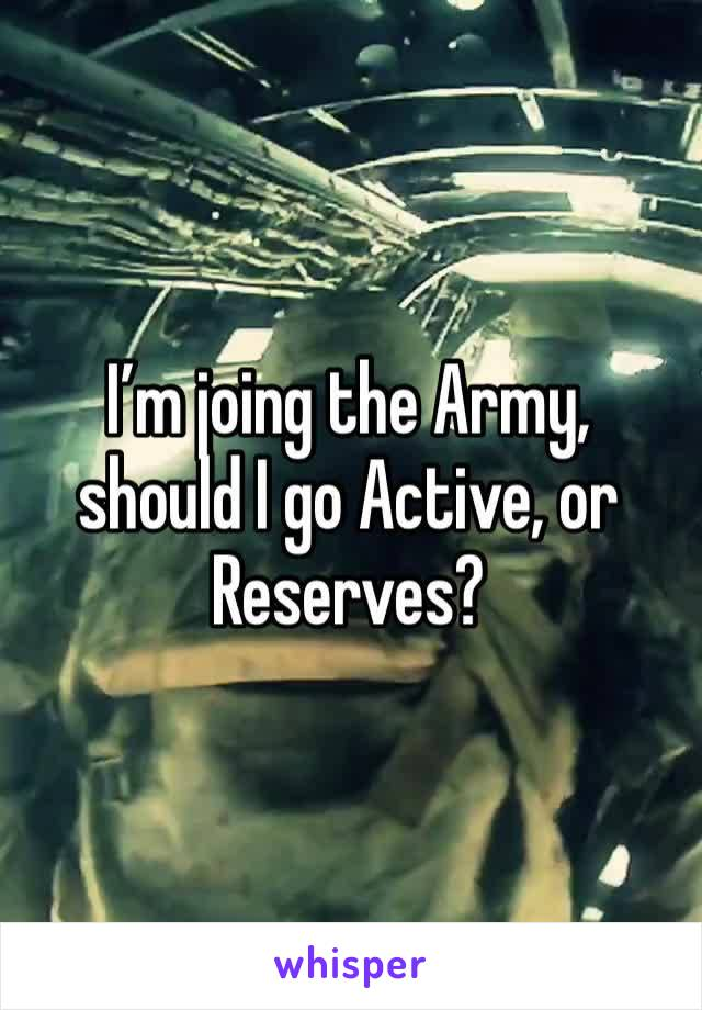 I'm joing the Army, should I go Active, or Reserves?