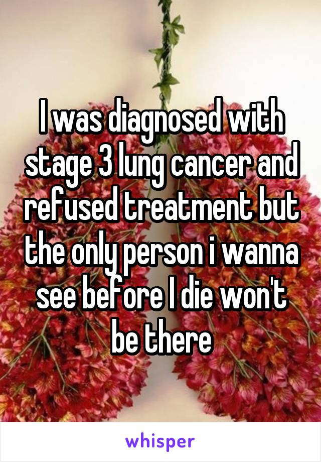 I was diagnosed with stage 3 lung cancer and refused treatment but the only person i wanna see before I die won't be there