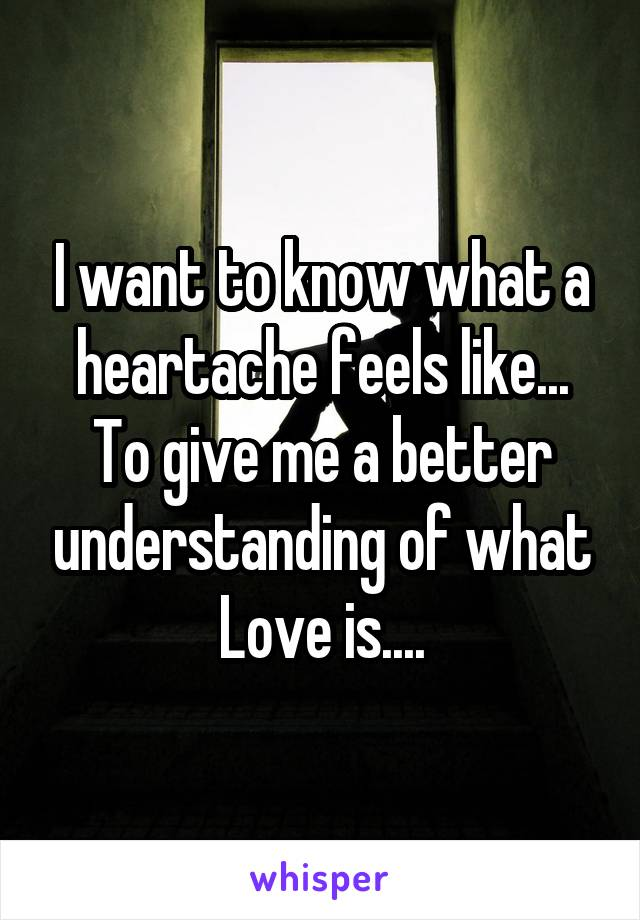 I want to know what a heartache feels like... To give me a better understanding of what Love is....