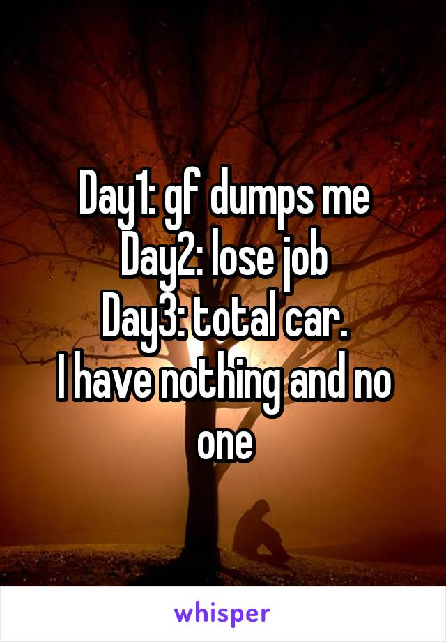 Day1: gf dumps me Day2: lose job Day3: total car. I have nothing and no one