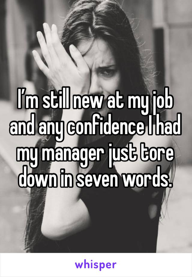 I'm still new at my job and any confidence I had my manager just tore down in seven words.