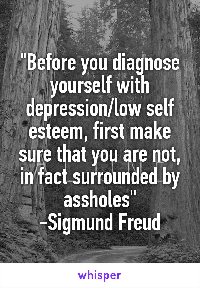 """""""Before you diagnose yourself with depression/low self esteem, first make sure that you are not, in fact surrounded by assholes"""" -Sigmund Freud"""