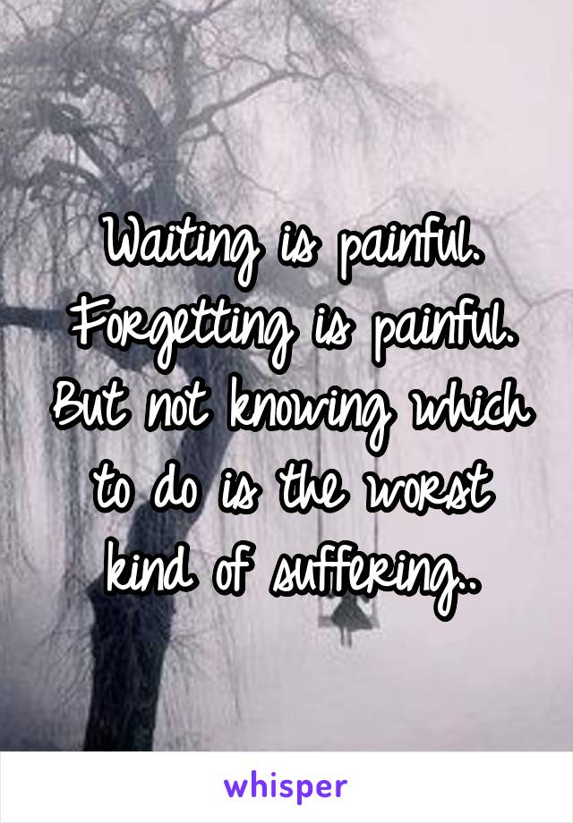 Waiting is painful. Forgetting is painful. But not knowing which to do is the worst kind of suffering..