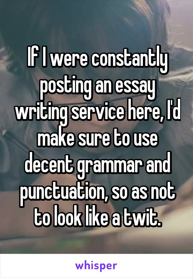 If I were constantly posting an essay writing service here, I'd make sure to use decent grammar and punctuation, so as not to look like a twit.