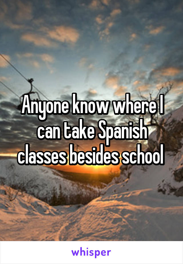 Anyone know where I can take Spanish classes besides school
