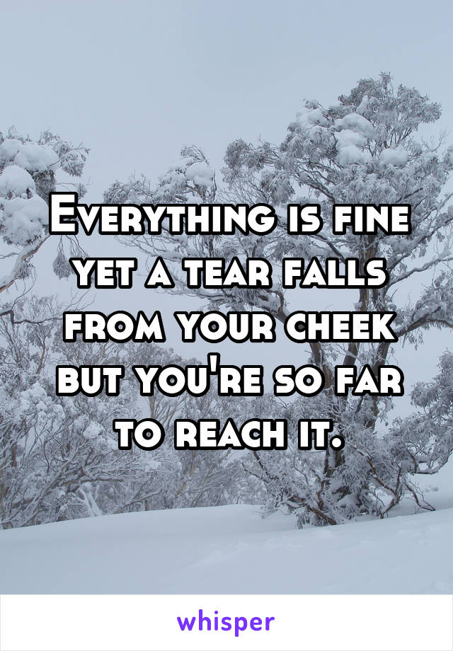 Everything is fine yet a tear falls from your cheek but you're so far to reach it.