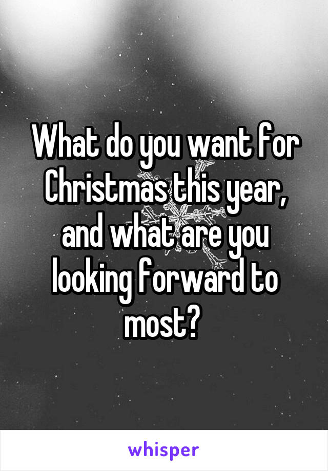 What do you want for Christmas this year, and what are you looking forward to most?