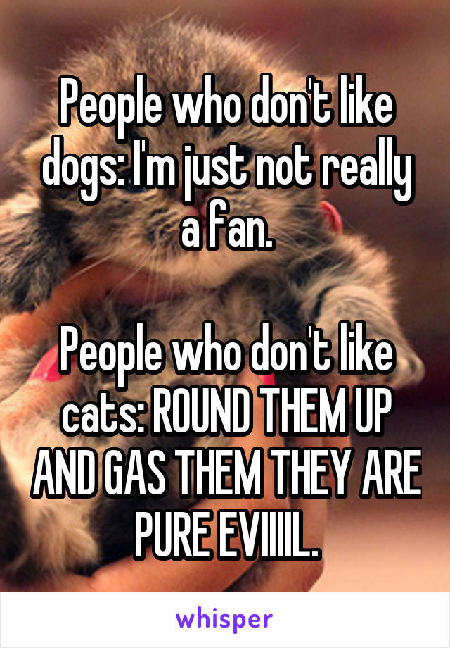 People who don't like dogs: I'm just not really a fan.  People who don't like cats: ROUND THEM UP AND GAS THEM THEY ARE PURE EVIIIIL.