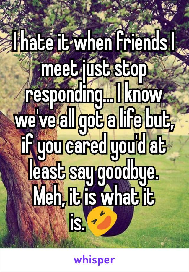 I hate it when friends I meet just stop responding... I know we've all got a life but, if you cared you'd at least say goodbye. Meh, it is what it is.🤣