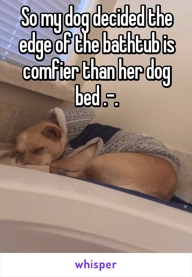 So my dog decided the edge of the bathtub is comfier than her dog bed .-.