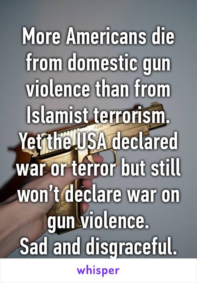 More Americans die from domestic gun violence than from Islamist terrorism. Yet the USA declared war or terror but still won't declare war on gun violence. Sad and disgraceful.