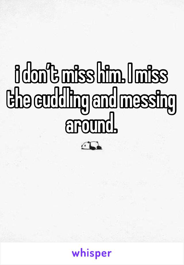 i don't miss him. I miss the cuddling and messing around.