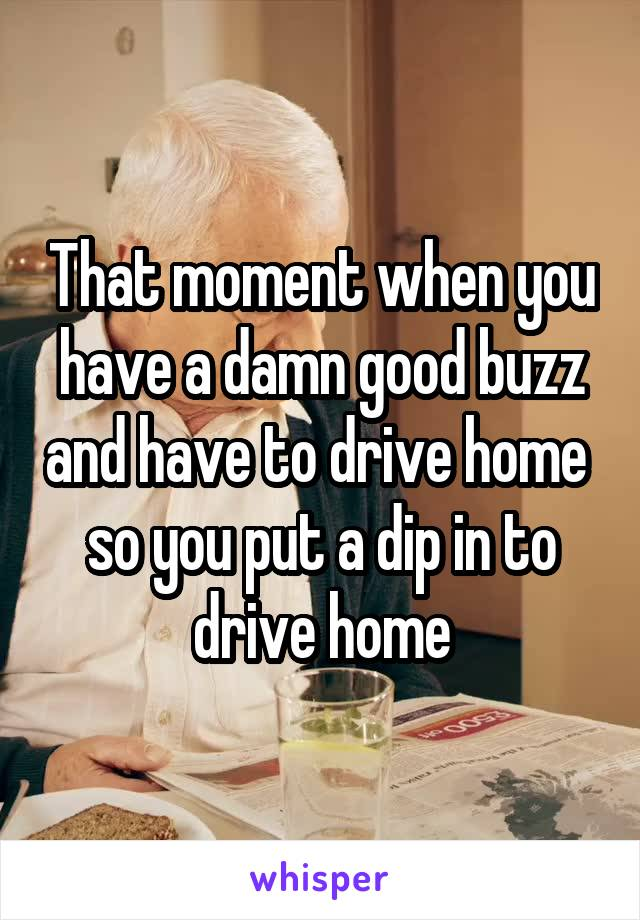 That moment when you have a damn good buzz and have to drive home  so you put a dip in to drive home