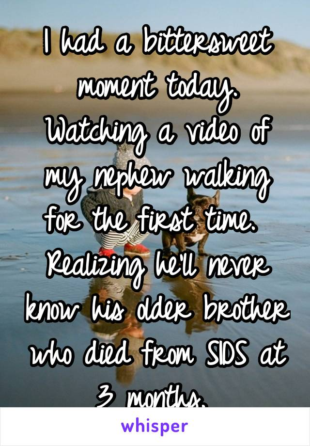 I had a bittersweet moment today. Watching a video of my nephew walking for the first time.  Realizing he'll never know his older brother who died from SIDS at 3 months.