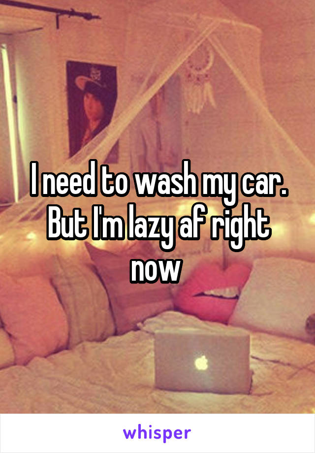 I need to wash my car. But I'm lazy af right now