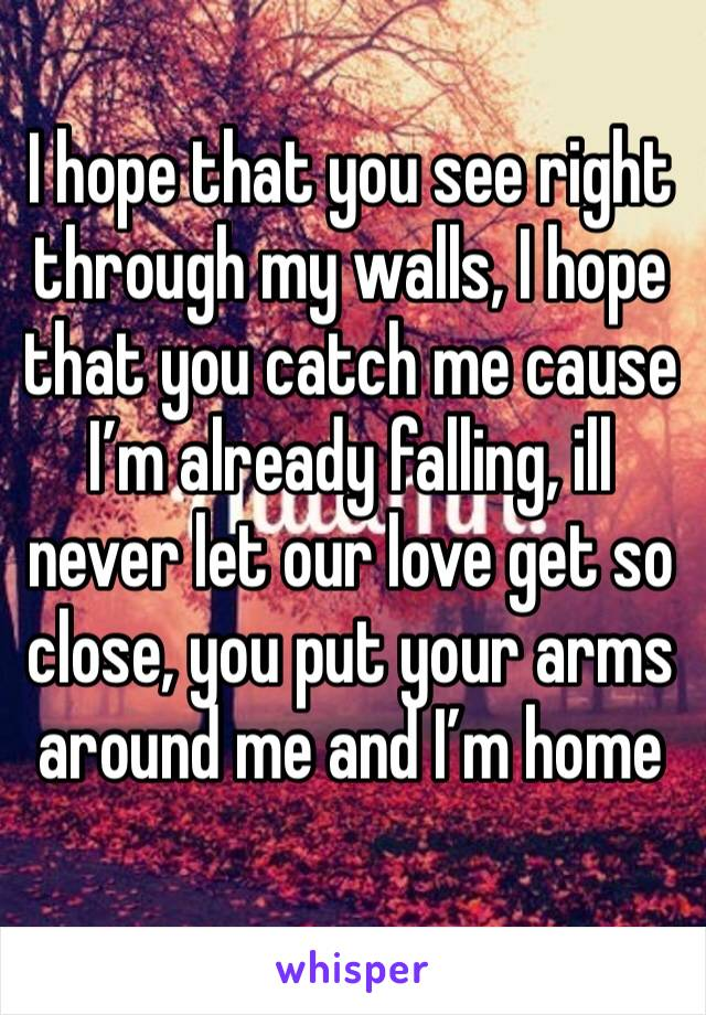 I hope that you see right through my walls, I hope that you catch me cause I'm already falling, ill never let our love get so close, you put your arms around me and I'm home