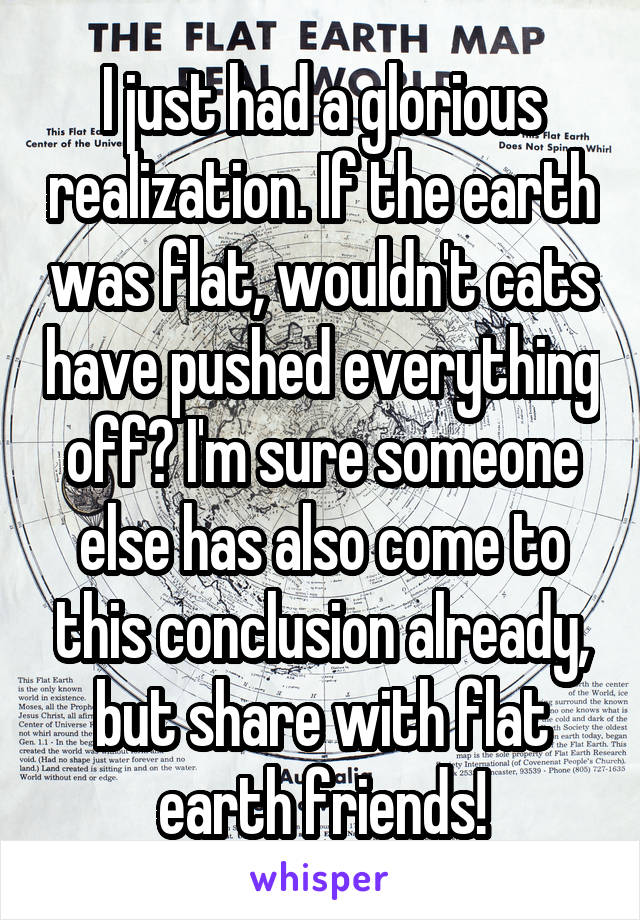 I just had a glorious realization. If the earth was flat, wouldn't cats have pushed everything off? I'm sure someone else has also come to this conclusion already, but share with flat earth friends!