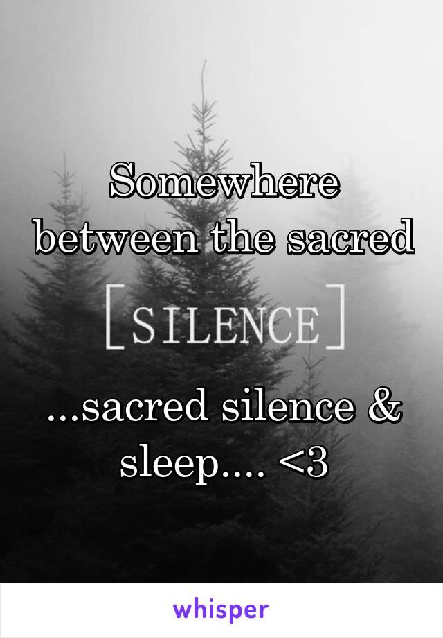 Somewhere between the sacred   ...sacred silence & sleep.... <3