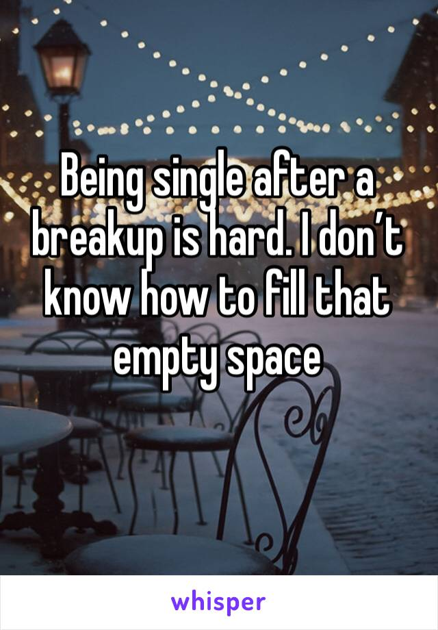 Being single after a breakup is hard. I don't know how to fill that empty space