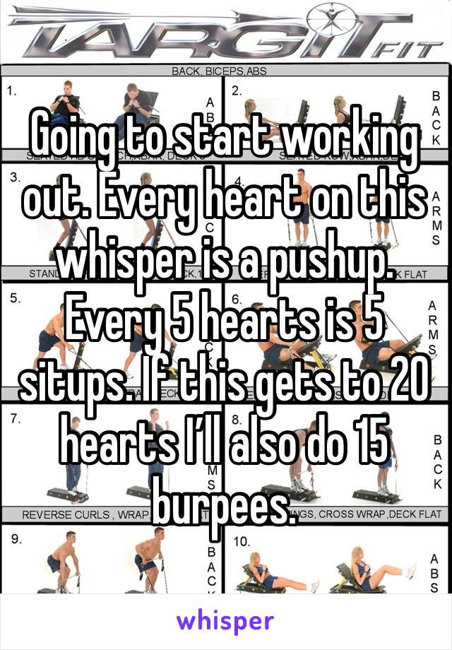 Going to start working out. Every heart on this whisper is a pushup. Every 5 hearts is 5 situps. If this gets to 20  hearts I'll also do 15 burpees.