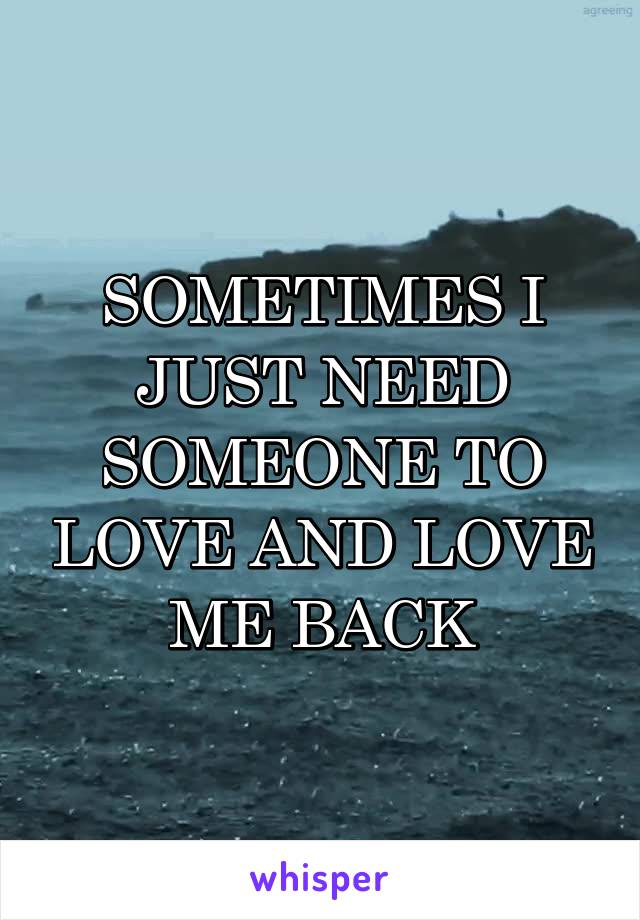 SOMETIMES I JUST NEED SOMEONE TO LOVE AND LOVE ME BACK