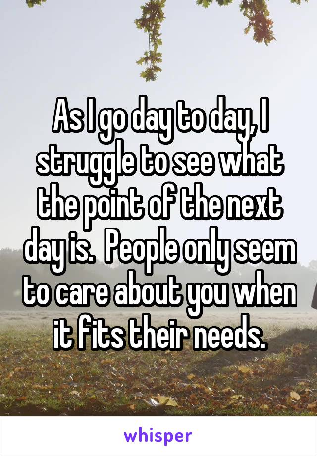 As I go day to day, I struggle to see what the point of the next day is.  People only seem to care about you when it fits their needs.