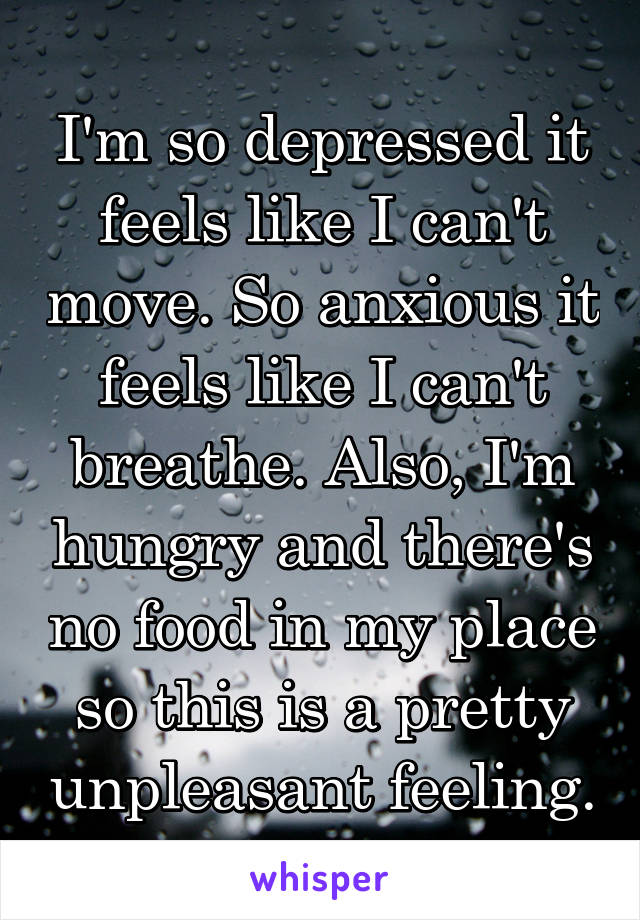 I'm so depressed it feels like I can't move. So anxious it feels like I can't breathe. Also, I'm hungry and there's no food in my place so this is a pretty unpleasant feeling.
