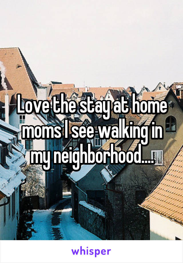 Love the stay at home moms I see walking in my neighborhood....