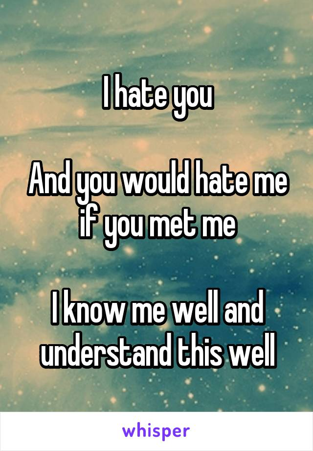I hate you  And you would hate me if you met me  I know me well and understand this well