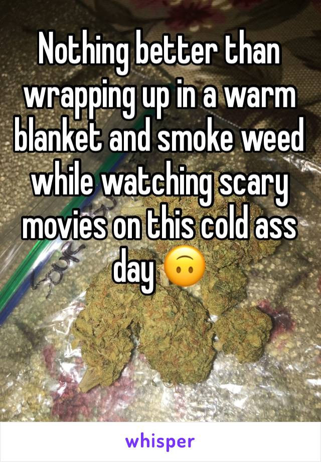 Nothing better than wrapping up in a warm blanket and smoke weed while watching scary movies on this cold ass day 🙃