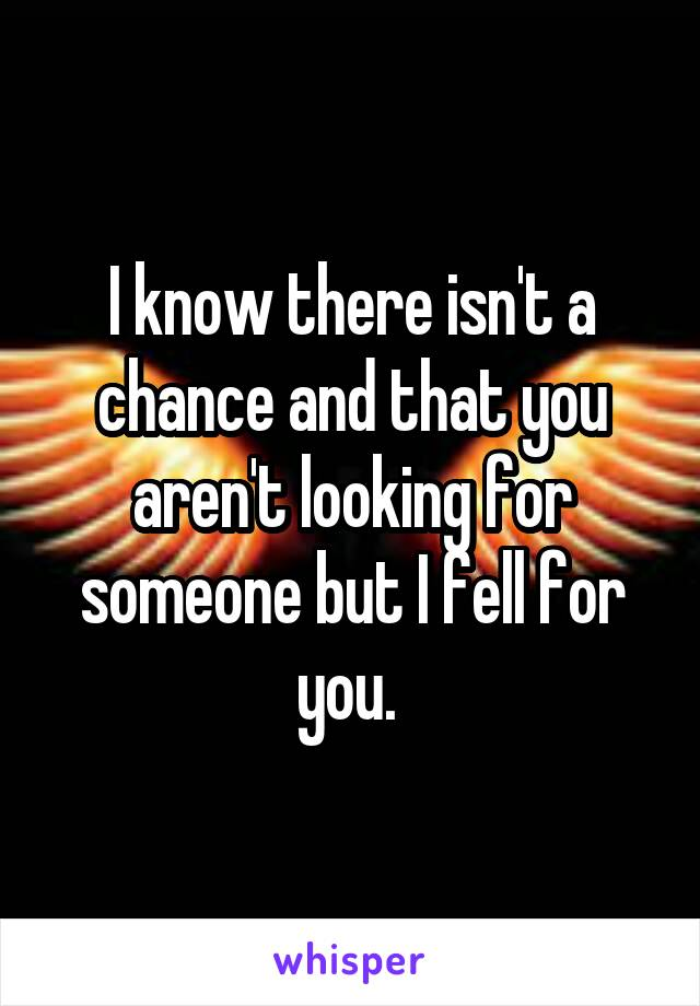 I know there isn't a chance and that you aren't looking for someone but I fell for you.