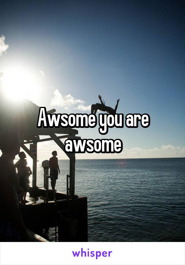 Awsome you are awsome