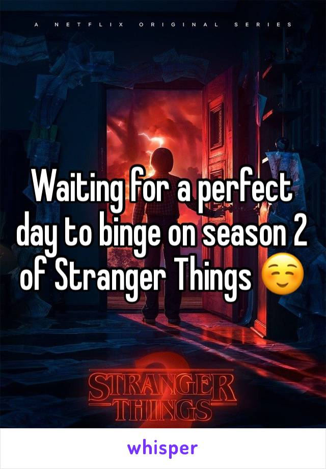 Waiting for a perfect day to binge on season 2 of Stranger Things ☺️