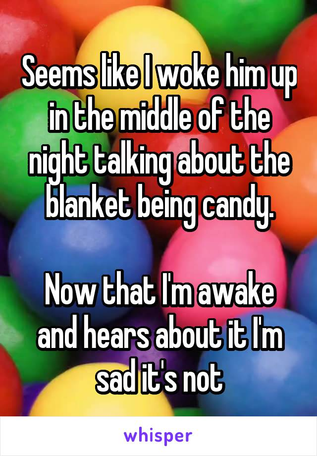 Seems like I woke him up in the middle of the night talking about the blanket being candy.  Now that I'm awake and hears about it I'm sad it's not