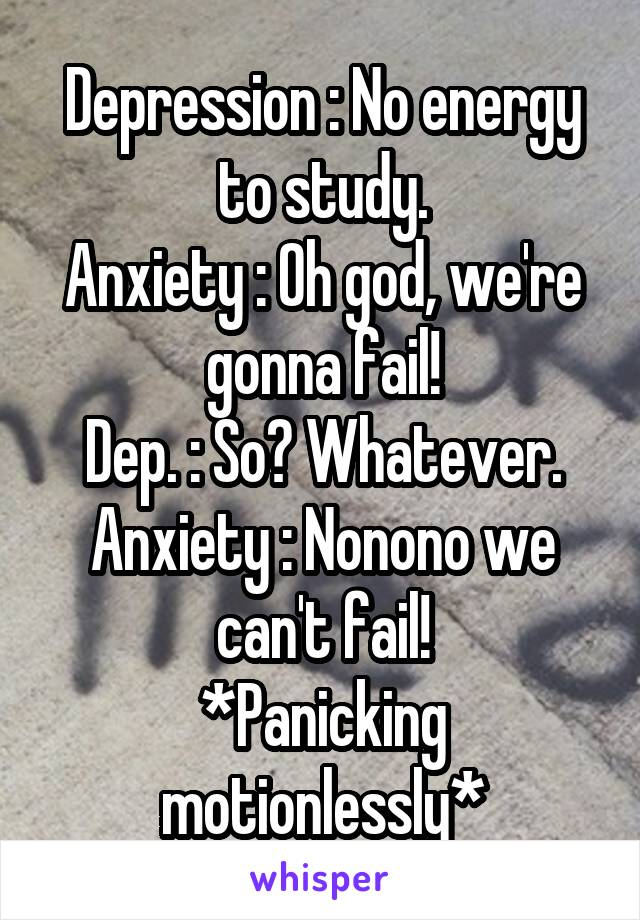 Depression : No energy to study. Anxiety : Oh god, we're gonna fail! Dep. : So? Whatever. Anxiety : Nonono we can't fail! *Panicking motionlessly*