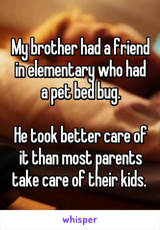 My brother had a friend in elementary who had a pet bed bug.  He took better care of it than most parents take care of their kids.