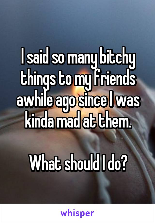 I said so many bitchy things to my friends awhile ago since I was kinda mad at them.  What should I do?