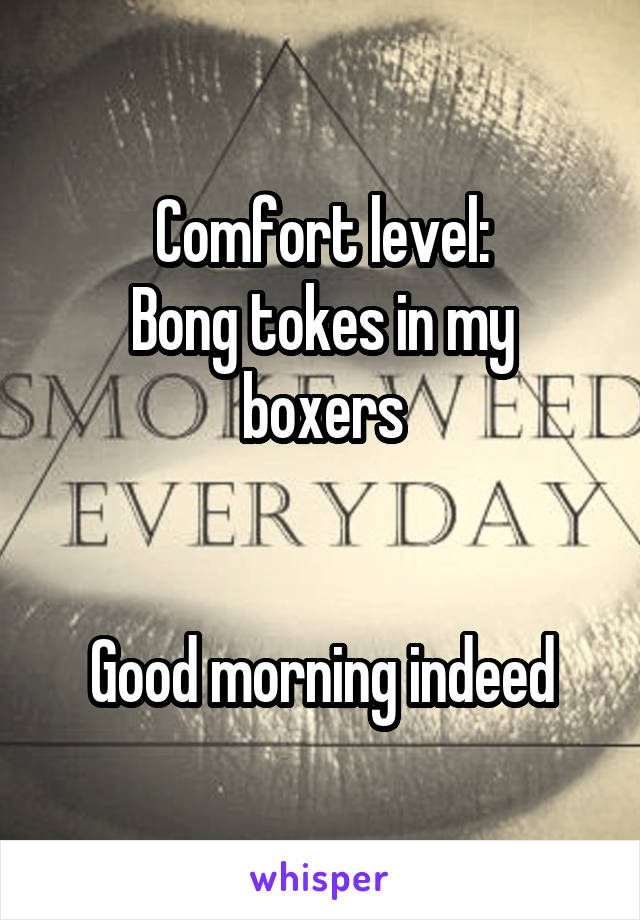 Comfort level: Bong tokes in my boxers   Good morning indeed