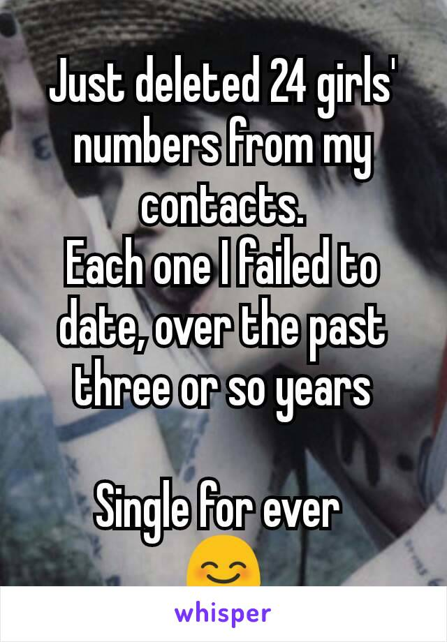 Just deleted 24 girls' numbers from my contacts. Each one I failed to date, over the past three or so years  Single for ever  😊