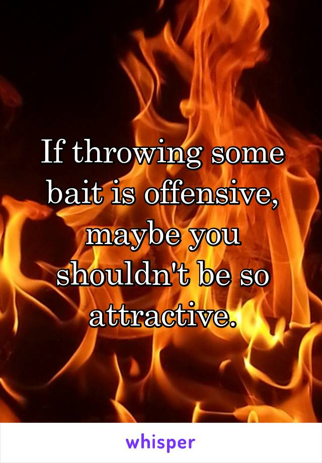 If throwing some bait is offensive, maybe you shouldn't be so attractive.