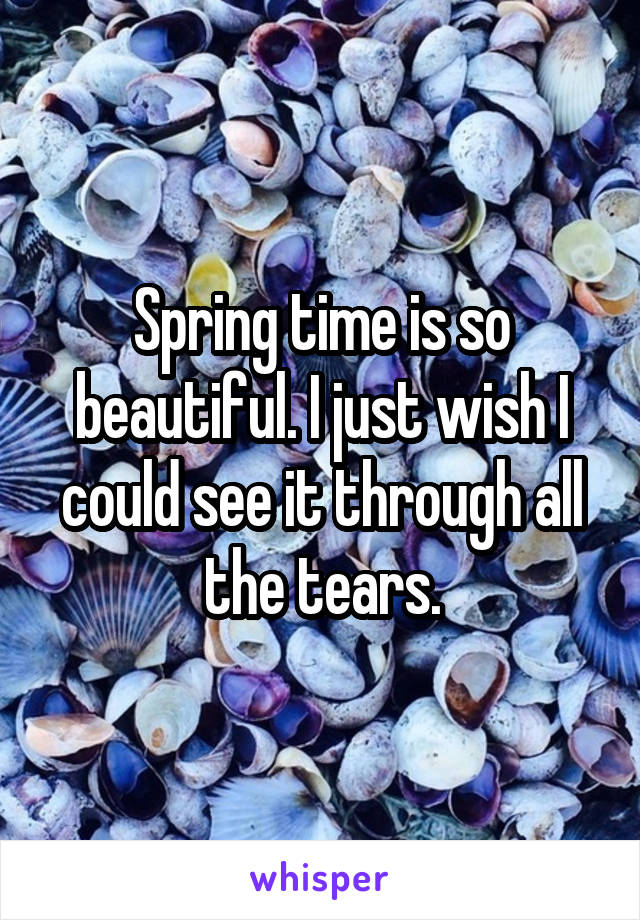 Spring time is so beautiful. I just wish I could see it through all the tears.