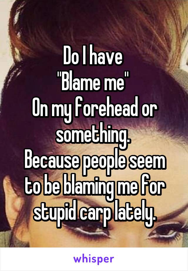 """Do I have  """"Blame me""""  On my forehead or something.  Because people seem to be blaming me for stupid carp lately."""