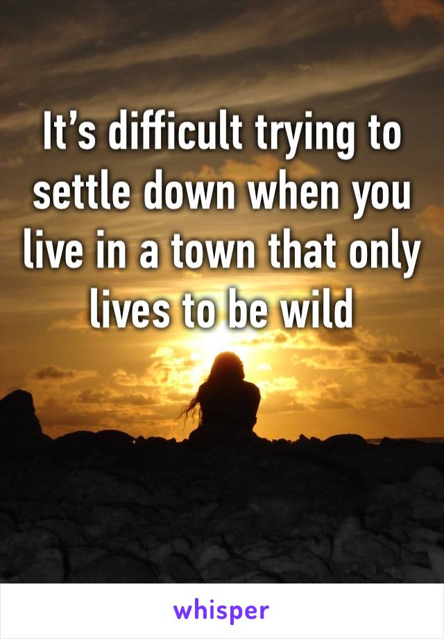 It's difficult trying to settle down when you live in a town that only lives to be wild
