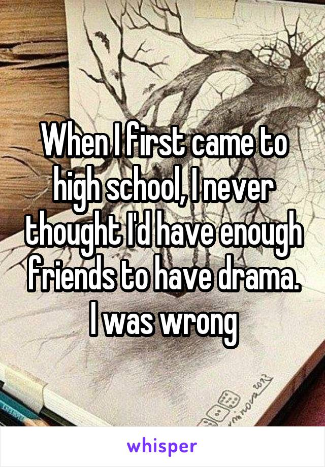 When I first came to high school, I never thought I'd have enough friends to have drama. I was wrong