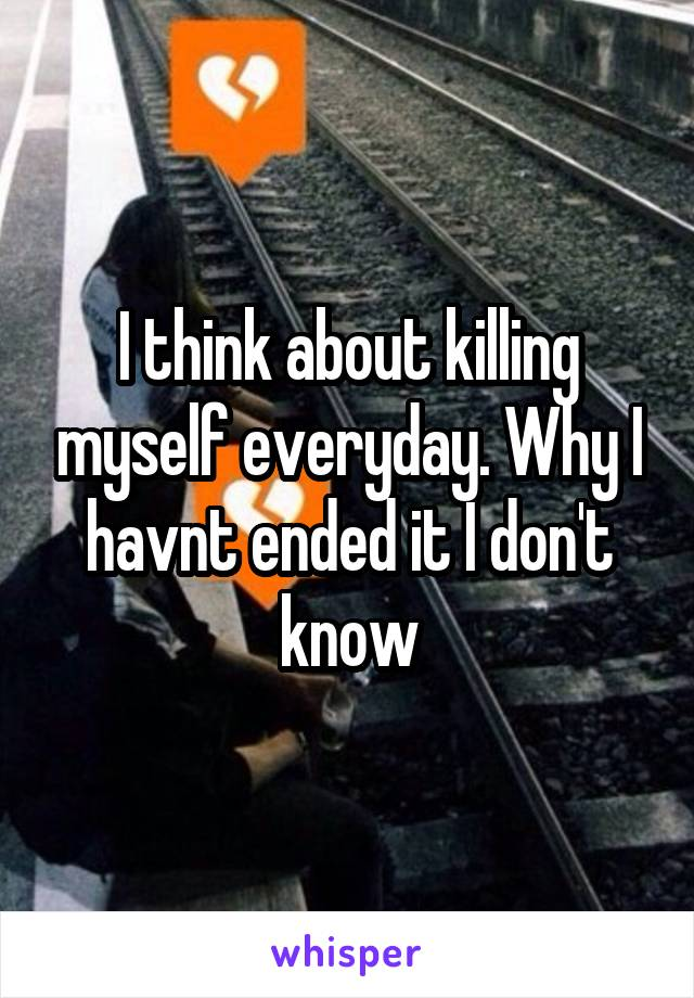 I think about killing myself everyday. Why I havnt ended it I don't know